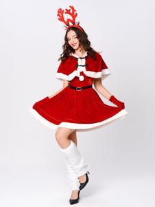 Conjunto de mulheres natal skater peludo vermelho vestido trajes de férias de natal