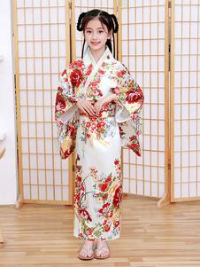 Trajes japoneses Kimono infantil Vestido de poliéster branco Conjunto de mulheres orientais Trajes de festas