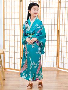 Trajes japoneses Quimono infantil Vestido de poliéster azul ciano Oriental Conjunto feminino Trajes de feriados