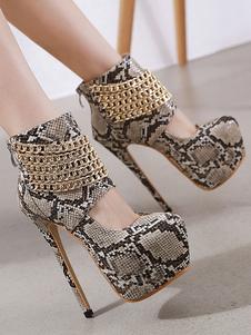 Plataforma de mujer Tacones altos sexy Zapatos con estampado de serpiente de punta redonda con cadenas