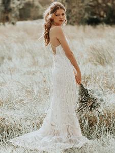 Vestido de novia Boho 2020 Lace A Line Halter sin mangas hasta el suelo Vestido de novia con tren