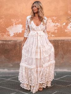 Boho بدلة الزفاف فستان 2020 الخامس الرقبة الطابق طول الرباط متعدد الطبقات ثوب الزفاف والزي