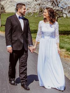 Свадебные платья Line Jewel Шея Половина рукава длиной до пола, шифон кружева свадебное платье