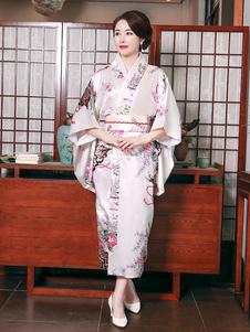 Trajes japoneses para adultos Vestido de cetim de poliéster quimono rosa claro conjunto oriental trajes de férias