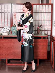 Trajes japoneses para adultos Vestido de cetim de poliéster quimono preto conjunto Oriental trajes de férias