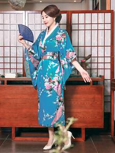 Costume Carnevale Costumi giapponesi per adulti Kimano blu ciano Abito in raso di poliestere Costumi orientali per le vacanze