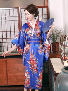 ازياء الكبار لليابانيين كيمونو بوليستر ساتان فستان أزرق شرقية