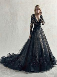 Vestidos de novia negros Encaje Princesa Silueta Mangas largas Cintura natural Encaje Corte Corte Vestido de novia
