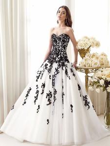 Abiti da sposa neri Abito da sposa in tulle senza maniche in pizzo a vita bassa con silhouette principessa in tulle