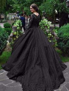 Abiti da sposa gotici Abito da sposa vintage in taffettà di pizzo a maniche lunghe con silhouette di principessa