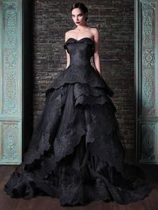 Abito da sposa gotico in raso tessuto principessa silhouette senza maniche in vita naturale in rilievo abito da sposa treno strascico