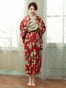 Trajes japoneses para adultos Vestido de cetim de poliéster quimono vermelho conjunto Oriental trajes de férias