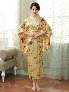 Trajes japoneses para adultos Vestido de cetim de poliéster quimono amarelo conjunto Oriental trajes de férias