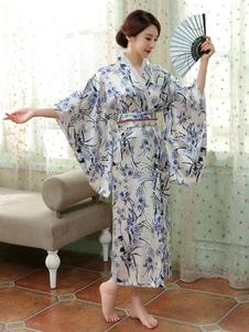 Trajes japoneses para adultos Quimono branco Poliéster Vestido de cetim Conjunto oriental Trajes de festas