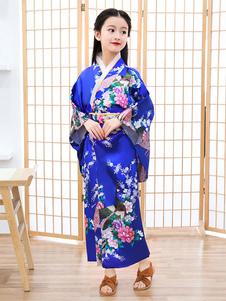 Traje asiático Kimono azul conjunto de trajes de férias das mulheres infantis