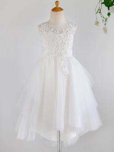 Платья для девочек-цветочниц Жемчужина без рукавов Жемчуг Детские праздничные платья
