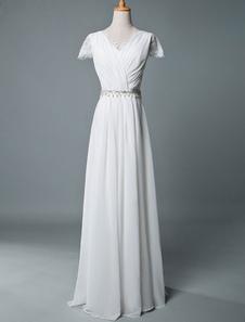 Vestidos de novia Boho 2020 A Line V cuello de encaje de manga corta hasta el suelo vestido de novia de gasa
