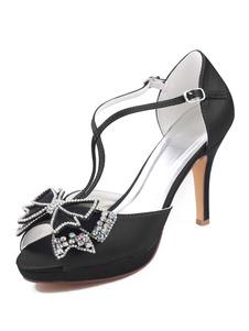 Zapatos de noche para mujer Sandalias de tacón alto Zapatos de fiesta peep toe con lazos