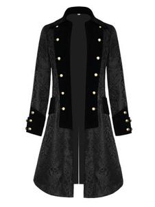 Disfraz Carnaval Abrigo negro vintage Edad Media Velour Retro Disfraces para hombre Carnaval