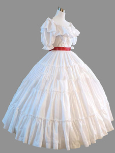 Disfraz Carnaval Disfraces retros blancos Ruffle Mujeres Marie Antoinette Costume Vintage Set Party Prom Dress Carnaval