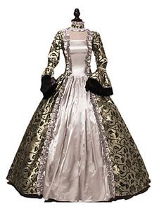 Disfraz Carnaval Trajes retro de las mujeres Imprimir vestido victoriano con volantes de encaje Ropa vintage Carnaval