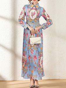 Vestido largo Azul celeste claro Moda Mujer con estampado con manga larga Vestidos de poliéster High-Low con botones de cuello vuelto