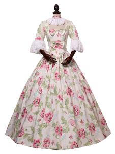 Rococó Retro Trajes Floral Print Marie Antoinette Costume Dress Mulheres Roupas Vintage