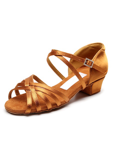Zapatos de baile latino para niños Sandalias de baile de salón de tacón grueso y bajo para niñas