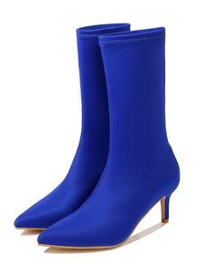 femminile calzino Stivali metà polpaccio Stretch Stivali Scarpe a punta da 2,4\