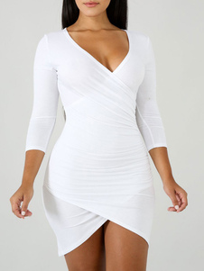 Bodycon Vestidos Branco V Neck Ruffles Casual Manga comprida Lápis Vestido