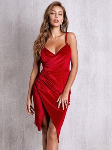 Клубное платье на шее Сексуальное платье без рукавов из полиэстера и спинки Красное сексуальное платье