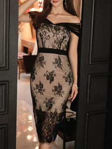 Vestidos de encaje Cuello bateau negro Sin mangas Alto Bajo Diseño Encaje Vestidos clásicos