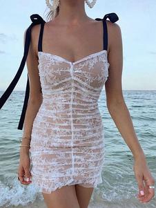 Кружевные платья Абрикосовое платье без бретелек без рукавов