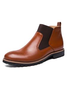 Botas de homem Botas de dedo do pé redondo Chelsea