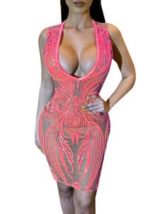 فساتين BODYCON الوردي أكمام قطع مثير الخامس الرقبة Cupless اللباس ميدي اللباس غمد