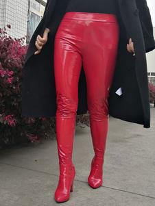 أحذية بانت المرأة أشار تو مكتنزة كعب الهذيان نادي أحذية مثير الأحمر