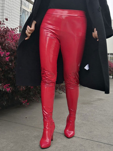 Женские сапоги с острым носом на толстом каблуке Rave Club Red Sexy Shoes