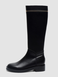 "Stivali al ginocchio da donna, punta tonda, tacco grosso, tacco grosso, 1.6 "", stivali da donna"