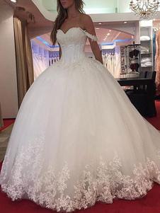 Vestido de noiva princesa silhueta querida pescoço sem mangas natural cintura applique tule vestidos de noiva