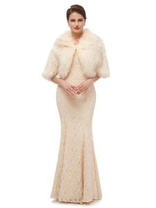 يلف الزفاف رمادي فاتح نصف الأكمام فو الفراء العرسان يرفع الغطاء