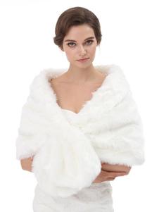 التفاف الزفاف الأبيض بلا أكمام فو الفراء الزفاف التستر