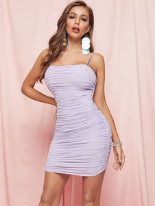 Bodycon Abiti senza maniche Lavanda casuale cinghie del collo Backless Vestito longuette tubino