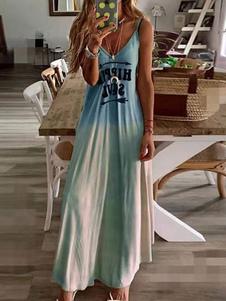 Vestido largo Azul celeste claro Moda Mujer con estampado sin mangas Vestidos de poliéster con tirantes Primavera Verano para uso en la playa