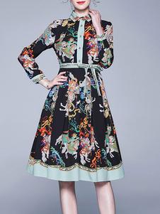 Макси платья 3/4 длины рукава Черный печатных Stand Collar Кнопки Maxi High Low Design Полиэстер Длина пола платье