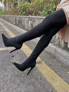 """Сексуальные сапоги до колена Эластичный черный остроконечный носок 4,5 """"стилет на высоком каблуке"""