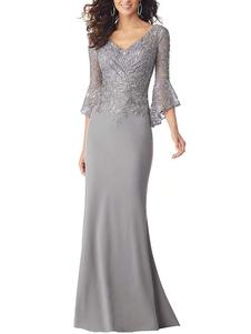 Abito da festa per la madre della sposa scollo a V maniche a 3/4 maniche sirena applique abiti da sposa ospiti