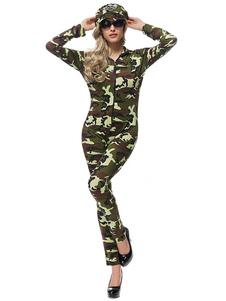 Карнавальные костюмы женский хэллоуин сексуальный костюм комбинезон шляпа камуфляж армия косплей