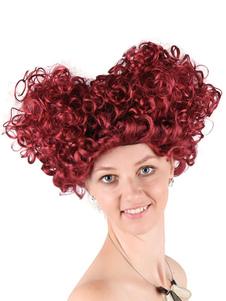 Peruca de fantasia de carnaval rainha dos corações acessório de traje de onda espiral