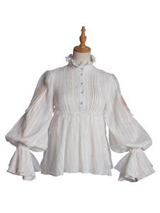 Сладкая Лолита Блузки Белые С Длинными Рукавами Сетки Оборками Лолита Топ Рубашка Лолита