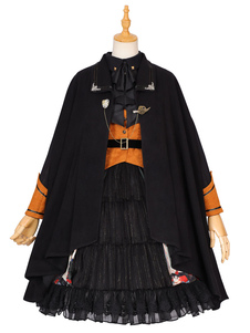 Poncho Gótico Lolita Gasa Negra Detalles de Metal Ropa de Otoño Lolita Outwears